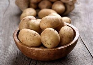 Raw potatoes in wooden bowl